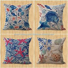 cheap white set of 4 cushion covers marine beach turtle anchor seashell sea life