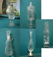 VICTORIAN GLASS SILVER OVERLAY CANDLEHOLDER, STERLING VASE, CRUET APOTHECARY PIC