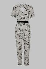 Topshop Ivory Bamboo Leaf Print Jumpsuit - Size 8