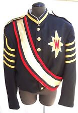 "Stanbury Marching Band Jacket UNIFORM BLUE Gold & Red Emblem ""W"" Size 46R NOS"