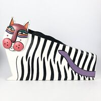 Rare Vintage Laurel Burch Carved Wooden Zebra Cat Hand Painted Sculpture 1980s