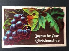 Vintage Postcard: Christmas Greetings #AA380: Fruit Grapes: Posted 1909