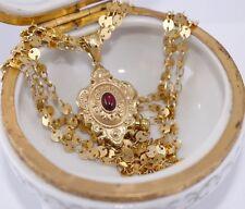 "UnoAerre 18k Yellow Gold Fine Necklace Pendant 0.50 Carat Ruby 18"" Length Signed"