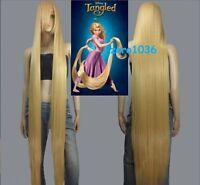 Disney Movie Tangled Rapunzel long blonde cosplay wig wavy cos full hair wig A33