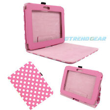 CASE COVER STAND POUCH POLYURETHANE PINK WHITE DOT FOR AMAZON KINDLE FIRE HD 7""