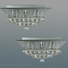 Pair of Modern Square Genuine Crystal Chandelier Ceiling Light Pendant Lamp