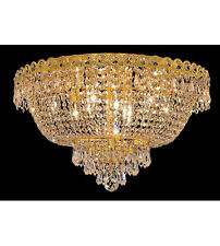 Palace Empire 9 Light Flush Mount Crystal Chandelier Lighting Fixture Gold