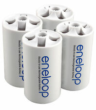 Sanyo Eneloop Spacer Pack: 4 Pack of D-size Adapters [Hassle Free Packaging]