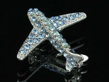 2pc Sparkly Sapphire blue crystal silver Brooch pin Aircraft Airplane Jet flight