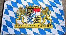 FREISTAAT BAYERN Rauten mit Löwen und Schrift  Bayrische Fahne Flagge 90x150 cm