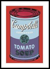 Warhol Campbells Soup Can BLU poster stampa d'arte nel quadro in alluminio nero 36x28cm