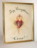 Vintage original religious catholic bleeding heart crucifix drawing painting art