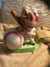 VINTAGE 1950'S CLEVELAND INDIANS CHIEF WAHOO BASEBALL CERAMIC BANK