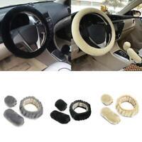 1Set Plush Fur Fluffy Car Steering Wheel Cover Handbrake Cover Gear Knob Cover