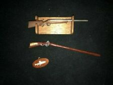 Dollhouse Mini Rifle Rack, Double Barrel Rifle, Musket and SS Fish Plaque