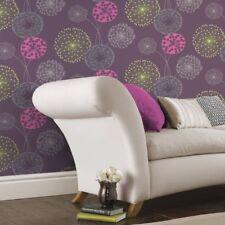 CHEAP ! Lucienne Plum Pink Silver Green Floral Feature Wallpaper 41102