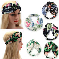Women Girls Yoga Elastic Turban Floral Twisted Knotted Hair Band Headband CHIC