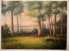Meadow Vista oil painting original signed 30x40 Canvas Unstretched Landscape Art