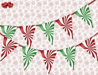 Christmas candy pattern green and red mix Bunting Banner 15 flags by PARTY DECOR