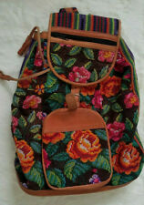 BACKPACK HANDMADE GUATEMALAN COLORFUL WOVEN ETHNIC TRIBAL LEATHER LARGE
