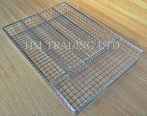 Wire Chrome Metal Cutlery Utensil Tray Holder Drawer Organizer Tidy Kitchen