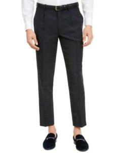 MSRP $60 Inc Men's Slim-Fit Windowpane Pleated Pants Navy Size 32X32