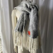 "Erfurt Gray & White Fringe Wool Scarf 90"" Long Fringe Anthropologie Denmark"