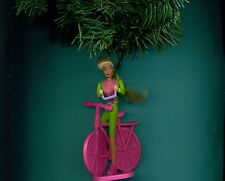 Barbie bicycle figure riding custom themed Christmas tree ornament Mattel See