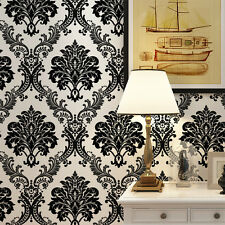 10M Luxury Black Damask on White Textured Embossed Flocking Wallpaper Roll