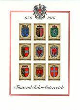 AUSTRIA, SCOTT # 1042a-1042i (8) SOUVENIR SHEET, 1976 COATS OF ARMS ISSUE MNH