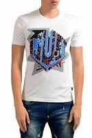 Just Cavalli White Graphic Short Sleeve Men's Crewneck T-Shirt US M IT 50