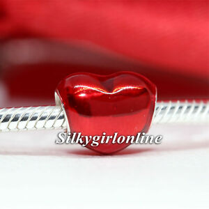 Authentic PANDORA Sterling Silver Charm Metallic Red Heart 799291C02