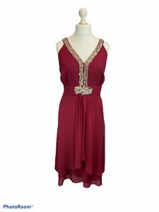 Monsoon Pearl Bead & Sequin Embellished Chiffon Claret Red Dress UK 20 Evening