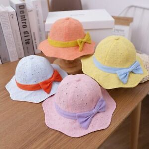 Bows Baby Hat Breathable Hollow Summer Kids Girls Bucket Cap Flower Soft Cotton