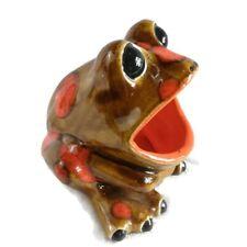 Vintage Wide Mouth Frog Brown Orange Spots