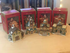 """Lot of 4: Vintage Village """"Christmas on Mainstreet"""" Hand Painted Porcelain"""