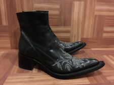 RARE❤️ Gianni Barbato Floral Embroidered Western Ankle Boots Black Sz 36.5