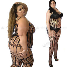 PLUS+ UK16-28 L XL XXL Bodystocking Fetish Fishnet Underwear Striped Curvy Lady