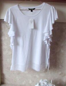BNWT Ralph Lauren White Ruffle sleeve T Shirt Top Size S UK 10/12