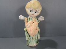 "Vintage Bisque Porcelain Doll with Paper Dress 4"" Tall"