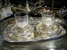 Vintage Silverplated Set of 2 Glasses Saucers Tray Ornate Gift Free Engraving