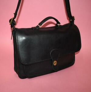 Authentic Coach Black Leather METROPOLITAN Briefcase Crossbody Made in the USA