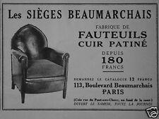 PUBLICITÉ 1930 LES SIÈGES BEAUMARCHAIS FAUTEUILS CUIR PATINÉ - ADVERTISING