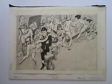 DRAWING VINTAGE PINNUP STYLE EROTIC NUDE PARTY HUMOR SATIRE  ILLUSTRATION RARE