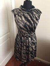 Kensie Grey & Black Collared Cap Sleeve Buckle Belt Dress Size US 10/UK 12-14