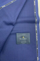 3.5 Metres Navy & Red Stripe Pure Wool Suit Fabric. By Scabal 260g- 703967