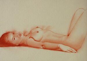 drawing nude girl, zeichnung eines Frauenakt, dessin nu feminin #A332 - pastel