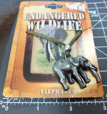 Endangered Wildlife series Necklace, leather style cord, Pewter, Elephant, New