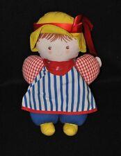 Peluche doudou poupée poupon COROLLE chapeau jaune bleu rouge carreaux 24cm TTBE