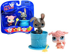 2004 Littlest Pet Shop Pet Pairs with Bobbleheads Poodle and Grey Bunny